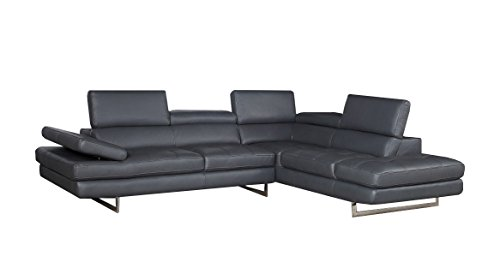 - Modern Sectional Sofa in Slate Grey Italian Leather with Contemproary Design by Soflex