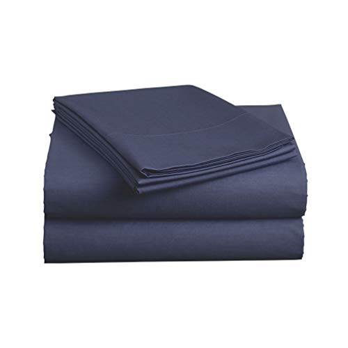 Luxe Bedding Sets - Queen Sheets 4 Piece, Flat Bed Sheets, Deep Pocket Fitted Sheet, Pillow Cases, Queen Sheet Set - Navy Blue