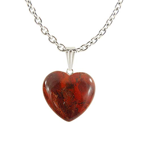 """- Steampunkers USA Chained Big Heart Collection - 20mm Classic Red Jasper Dark – 22"""" Stainless Steel 3mm Chain – Stainless Steel Bail – Natural Crystal Gemstone Carved Necklace Charm"""