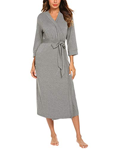 otton Bathrobe Lightweight Lounge Hospital Robes (Light Gray,XXL) ()