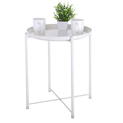 SuperUS Tray Metal End Table, Sofa Table Small Round Side Tables, Anti-Rust and Waterproof Outdoor & Indoor Snack Table, Accent Coffee Table