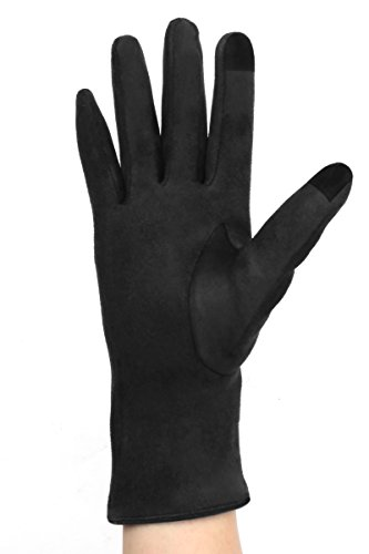 Black Suede Gloves - LL Womens Black Touch Screen Gloves Faux Suede Bow Lined Small Medium