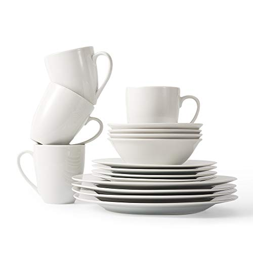 P&T Royal 16-Piece Porcelain Dinnerware Set Service for 4 White