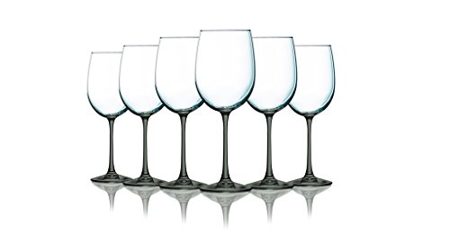 Smoke Grey Wine Glasses with Beautiful Colored Stem Accent - 19 oz. set of 6- Additional Vibrant Colors Available -
