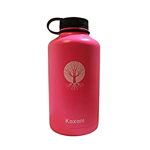Kaxani - Double Wall Vacuum Insulated Thermal Flask Stainless Steel BPA Free Wide Mouth (64oz, Pink)