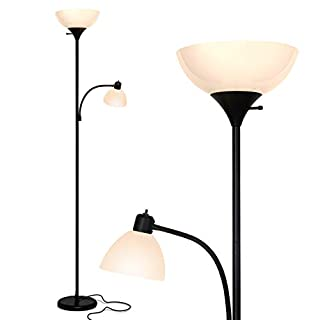Brightech Sky Dome Plus - Super Bright LED Torchiere & Reading Floor Lamp - Dimmable Modern Standing Pole Lamp for Office, Living Room – Tall Mother-Daughter Lights for Bedroom Night Lighting – Black