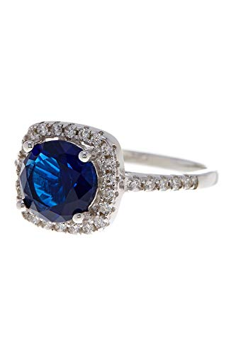 PORI JEWELERS .925 Sterling Silver Cushion Cut Halo Solitaire Engagement Ring- 2.45 Cttw Cubic Zirconia (White & Blue, 9)