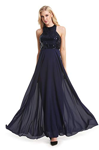 Beauty Kai Women's Long Formal Sequin Chiffon Evening Prom Dress (X-Large, Navy) Design Prom Gown Evening Dress