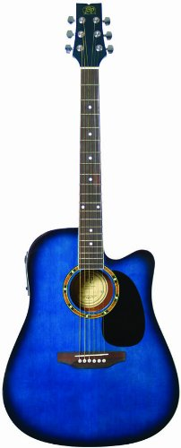 JB Player JBEA25TBL Acoustic Electric Guitar, Transparent Blue