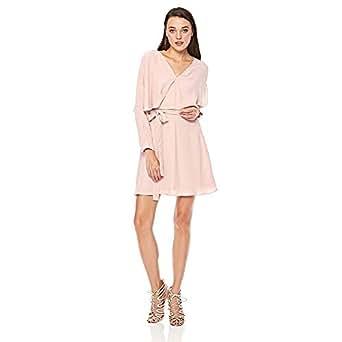 Elle Belted Wrap Dress for Women - Beige