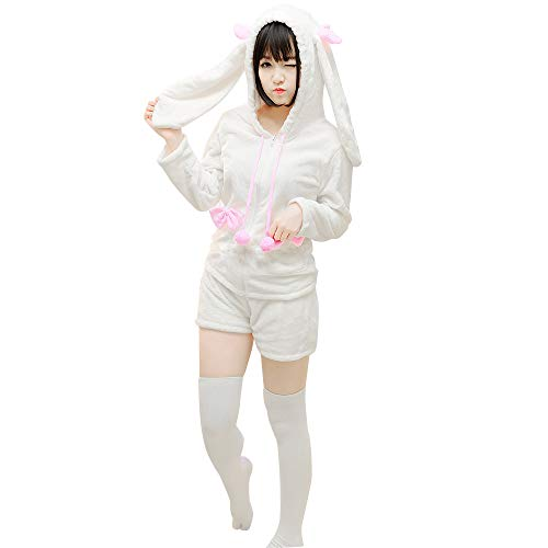- KINOMOTO Anime Costume Outfit Girls Cosplay Rabbit Ears Hoodie Coat and Shorts Set Pajamas