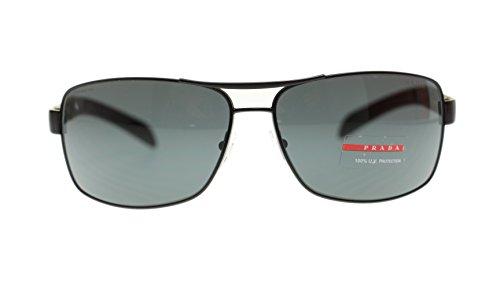 Prada Mens Sunglasses PS54IS 1BO1A1 Matte Black Rectangular 65mm - Sunglasses And Prada Black White
