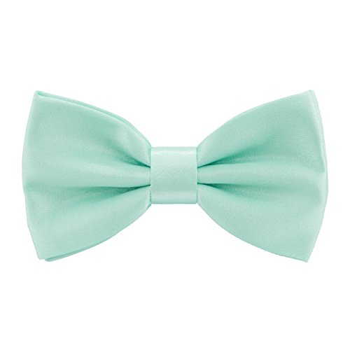 (Satin Classic Pre-Tied Bow Tie Formal Solid Tuxedo, by Bow Tie House (Medium, Mint))