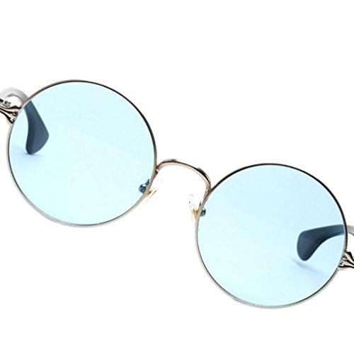 Style Ronde Lunette Mode Sharplace Rétro en Soleil Décontracté Unisexe Acrylique Bleu En De HxHdFIq0