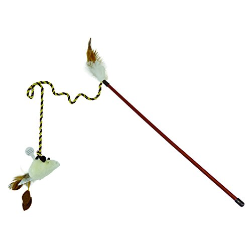 OurPets Play-N-Squeak at Night Twinkle Mouse Play Wand Cat Toy