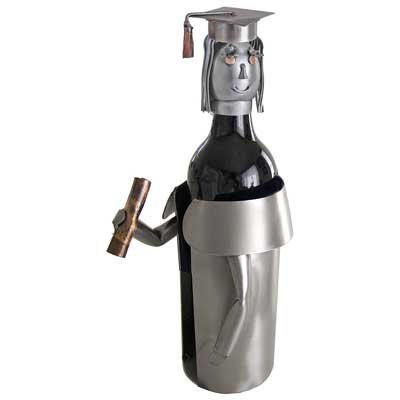 Female Graduate Wine Bottle Holder H&K Steel Sculpture 6185-LI