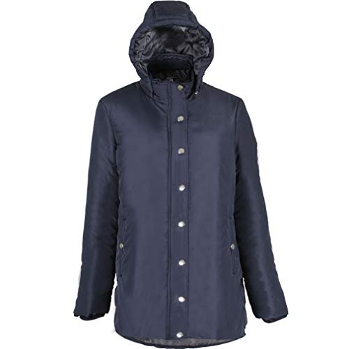 Plusfeel Women's Outdoor Hiking Climbing All Season Hoodie Coated Cotton Mid Length Zipper Padded Parka Jacket Coat, Navy Blue, L ()