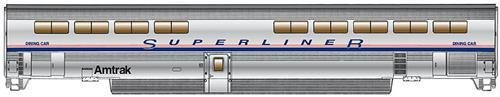 (85' Bombardier Superliner II Diner - Lighted - Ready to Run -- Amtrak (Phase IV))