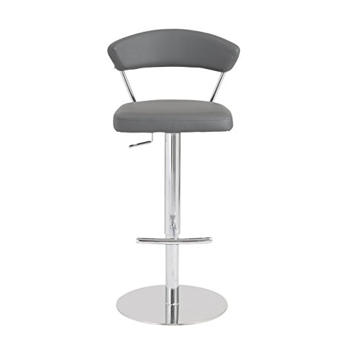 Eurø Style Draco Soft Leatherette Adjustable Counter to Bar Height Stool, Gray with (Bar Stool Soft)