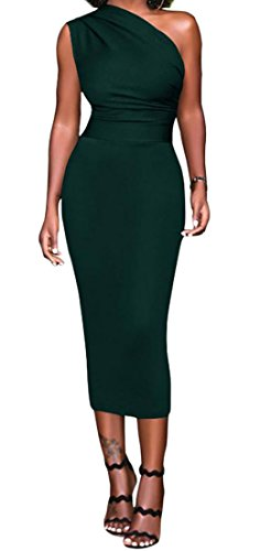 Dress High One Bodycon Cromoncent Midi Blackish Womens Sexy Green Club Shoulder Waist pxAnIzRq