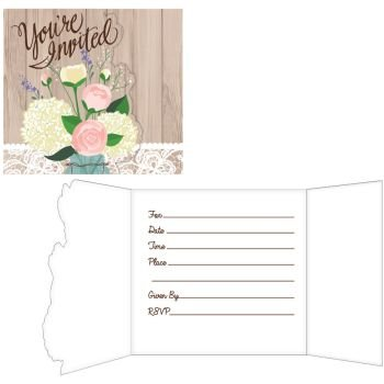 Rustic Wedding Foldover Invitations 8 Per Pack
