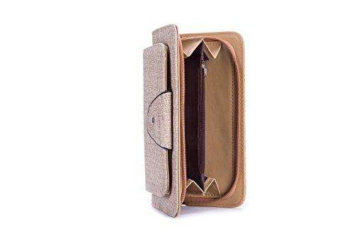 Clutch Wallet Women's Card Zipper Holder Style Short Apricot 2 Buckle GLITZALL Elegant Purse Leather zTvqvw6
