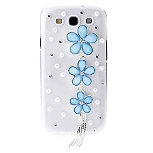 TOPAA ships in 48 hours Rhinestone Transparent Pattern Hard Back Case with Flower Chains for Samsung Galaxy S3 I9300 , White