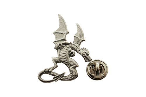 Medieval Dragon Pin ~ Antiqued Pewter ~ Lapel Pin ~ Sarah's Treats & Treasures