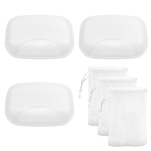 (Awpeye 3 Pack Travel Soap Case with Foaming Net, Plastic Soap Holder Container Soap Box for Home Outdoor Hiking Camping Gym)