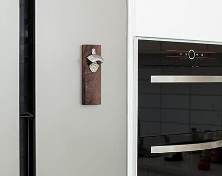 YUZE Sacacorchos de nogal negro para montar en la pared, sacacorchos con succión magnética, apto para barras de cocina y varias reuniones