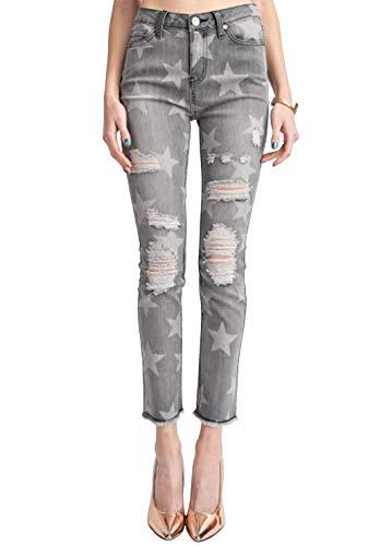 Easel Women's Star Printed Distressed Washed Denim Pants-Black Denim-Medium