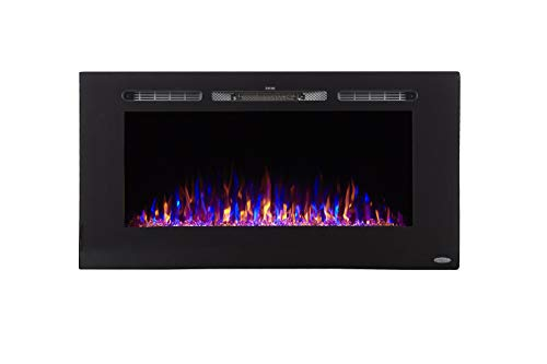 Touchstone 80027 - Sideline Electric Fireplace - 40 Inch Wide - in Wall Recessed - 5 Flame Settings - Realistic 3 Color Flame - 1500/750 Watt Heater - (Black) - Log & Crystal Hearth Options