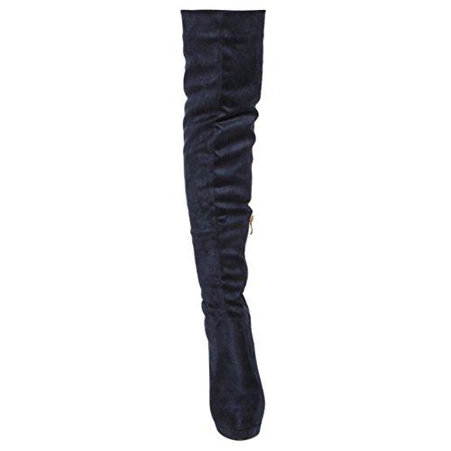 Beston FM35 Damen Side Zip Stöckel Absatz Overknee Stiefel halbe Größe klein Marine