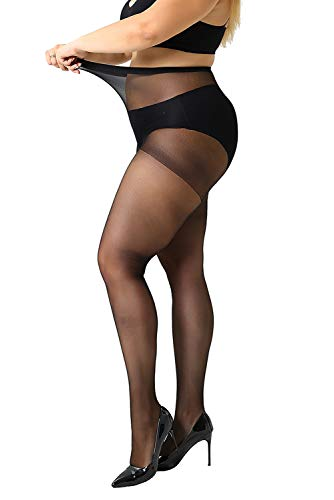 (MANZI Women's 2-4 Pairs Plus Size Control Top Ultra-Soft Pantyhose Tights)