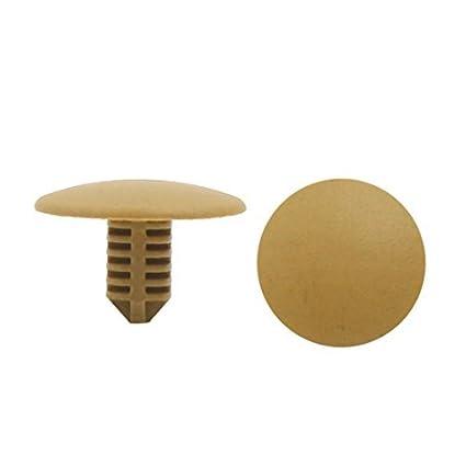 eDealMax 100 piezas caqui remaches de plástico parachoques Fender Moldeo Sujetador Clip 6 x 6 mm