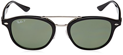 Ray-Ban Plastic Unisex Square Sunglasses, Black, 53 mm