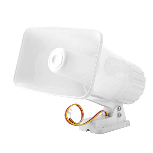 (Electronic Alarm Siren Horn 150dB Indoor/Outdoor Security Siren DC 12V for Home Security System - White )
