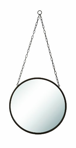 Cheap Creative Co-Op Rust Round Metal Framed Mirror with Chain, Large