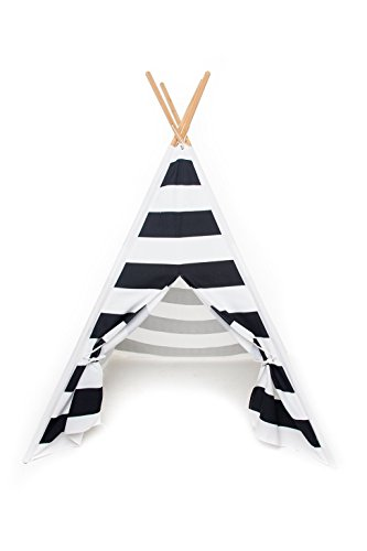 Play Teepee for Kids – 100% Cotton Canvas and Bamboo Poles Portable Indoor Tent for Children – Great for Boy and Girls - LIMITED SUPPLY! By From the Avenue (Black Stripe) (Indian Summer Stripe)