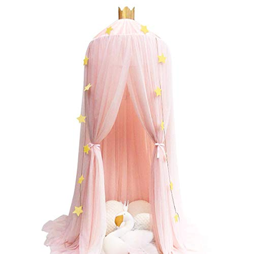 Dix-Rainbow Princess Bed Canopy Mosquito Net for Kids Baby Bed, Round Dome Kids Indoor Outdoor Castle Play Tent Hanging House Decoration Reading Nook Cotton Canvas Coral Pink (Pink Mesh) (Netting Indoor Fairy Light)