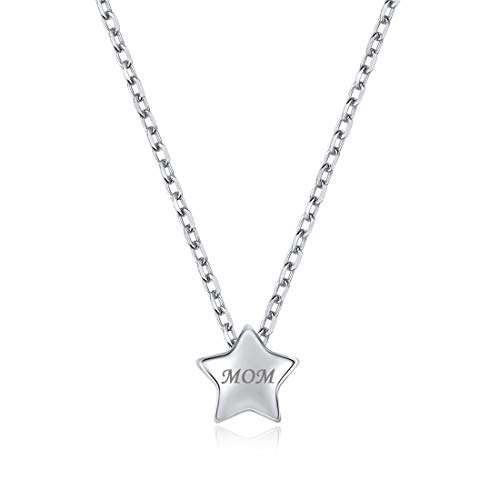(Personalized Star Necklace, 925 Sterling Silver Custom Couple/Lover Name Engravable Pendant Necklace for Women Girls)