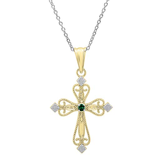 Dazzlingrock Collection 18K Round Lab Created Emerald Ladies Vintage Cross Pendant (Silver Chain Included), Yellow Gold