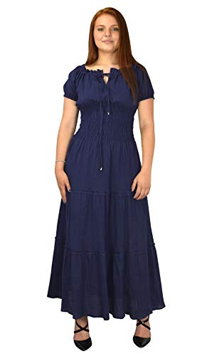 Peach Couture Gypsy Boho Cap Sleeves Smocked Waist Tiered Renaissance Maxi Dress (Navy, Small) -