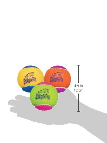 Large Product Image of KONG Air Dog Squeakair Birthday Balls Dog Toy, Medium, Colors Vary (3 Balls)