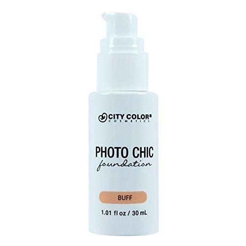 CITY COLOR COSMETICS Photo Chic Liquid Foundation | Oil Free Medium To Full Coverage, Combination Oily Skin (Buff)
