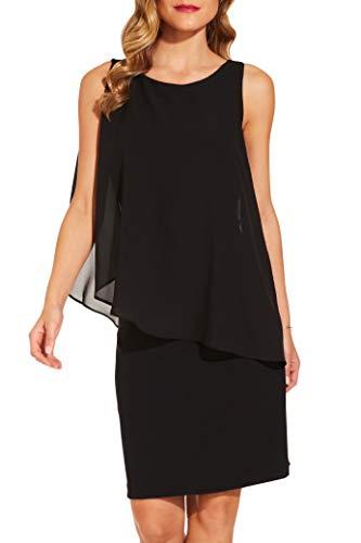 Boston Proper Women's Elegant Solid Chiffon Overlay Sleeveless Dress Jet Black X Small