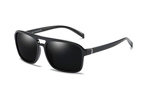 59mm Men Sunglasses Polarized 80s Classic Square Aviator Frame TR90 Big Glasses (Black, 59)