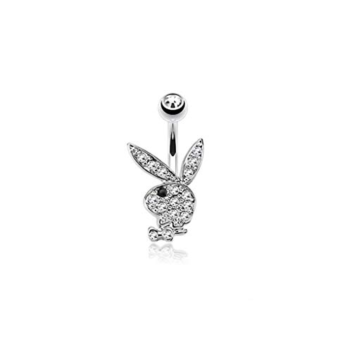 (Inspiration Dezigns 14GA Multi Colored Gems on Playboy Bunny 316L Surgical Steel Navel Ring (Clear/Black))