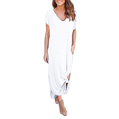 Thenxin Summer Loose Long Dress for Womens Beach Gallus Short Sleeves Floor-Length Skirt (White,L)