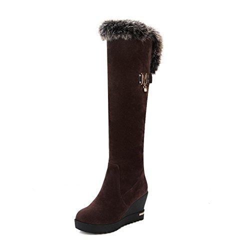 VogueZone009 Damen Hoch-Spitze Eingelegt Ziehen auf Rund Zehe Wedges Stiefel mit Metallisch, Braun, 37